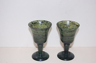 Pair of small Jade Wine Goblets / Glasses