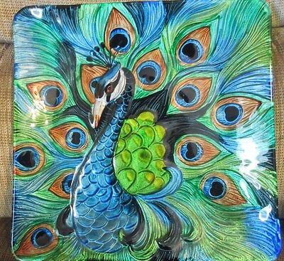 """Peacock Plate Painted Glass Blue & Green 12"""" x 12"""" Stained Glass Effect"""