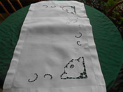 Snow White Linen Runner/ White Work Hand Embroidery In A Rose Pattern, Circa1920