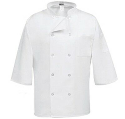 White 3/4 Sleeve Chef Coat 10 Button Jacket /Cotton Twill- w/ Free Black Doo Rag