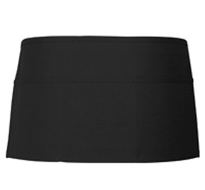 6 NEW (1/2 Dozen) BLACK SERVER WAITER WAITRESS 3 POCKET WAIST APRON HIGH QUALITY