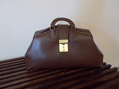 Vintage Brown Leather Doctors Bag With Handles And Monogramed Bms A Great Bag.