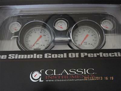 1967-68 Mustang  Gauge Set Classic Instruments White Hot Series  Mu67Wh W/ Bezel