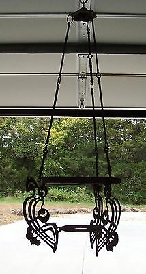 Antique Ornate Wrought Iron Oil Lamp Hanging Fixture