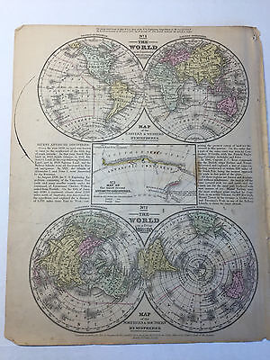 1852 Mitchell's School Atlas Map Of WORLD, hand colored map