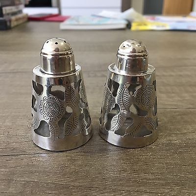 Sterling Silver Mexico 925 caged floral salt & pepper shakers hallmarked