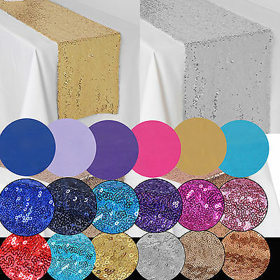 Bulk Hessian Satin Sequin Table Runners Cloth Party Wedding Decoration Events