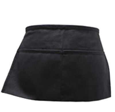 2  Black Server Waiter Waitress 2 Pocket Waist Apron Free Shipping .