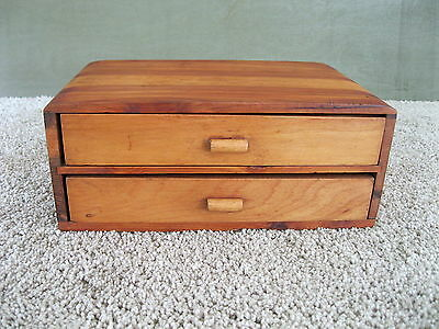 Antique Chest Box Vintage Primitive Keepsake Storage, Two Drawer, Cedar Wood