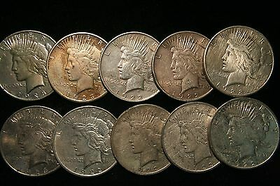 10 (Ten) Peace Silver Dollars US Coin lot, Circulated , Assorted Dates!