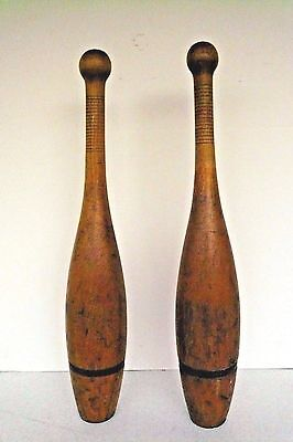 Pair 2 Antique Wood Wooden Juggling Indian Exercise Clubs Pins Circus Weights