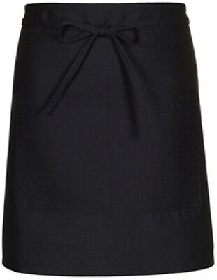 Fame 18631 F28 Black Half Bistro Waist Apron Fast Shipping