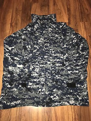 EUC US Navy Gore-Tex NWU DIGITAL BLUE Camo Rain Parka Jacket Large Long Hooded
