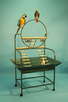 NEW Large Wrought Iron Parrot Bird Play Ground Play Stand Ladders Black Vein 932
