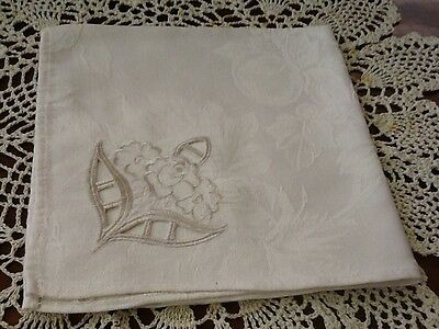 Floral Cutwork on Vintage Napkin - Machine Embroidery, Handmade -Great Condition
