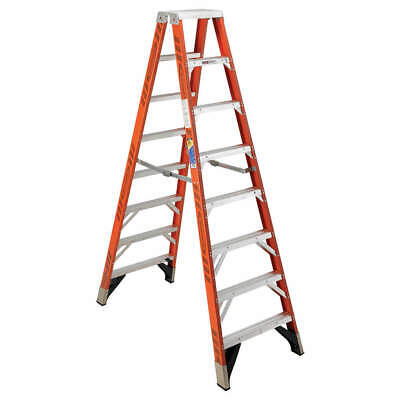 WERNER Twin Stepladder,Fiberglass,IAA,8ft,T7400, T7408