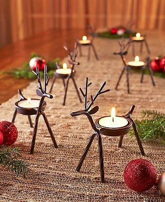 6pc rustic iron reindeer tea light candle holders winter decor 475x3x5 nib