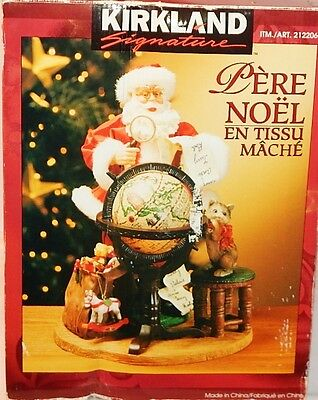 "KIRKLAND FABRIC MACHE 12"" SANTA 212206 w/WORLD ATLAS  NEW IN DAMAGED BOX"