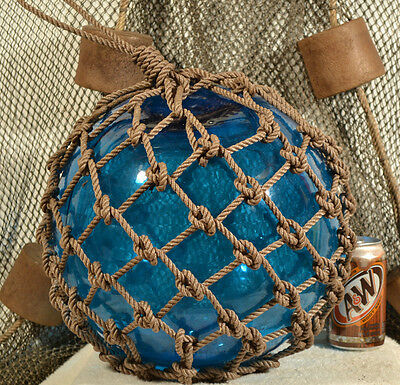 Vintage Japanese Aqua Glass Fishing Float With A Blue Tint