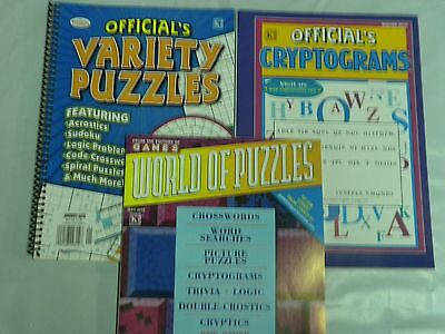 Lot of 3 Cryptograms, Variety, and World of Puzzles Full Size Puzzle books  NEW