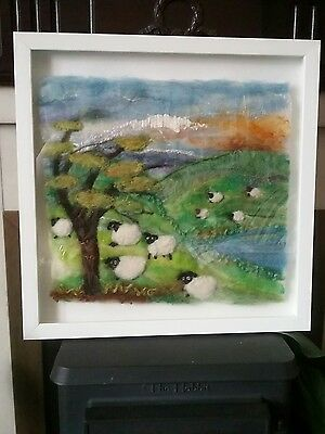 Unique wet Felted framed picture