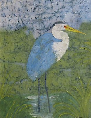 Blue Heron Watercolor Batik Painting on Rice Paper, Original, Signed 17x24 in.