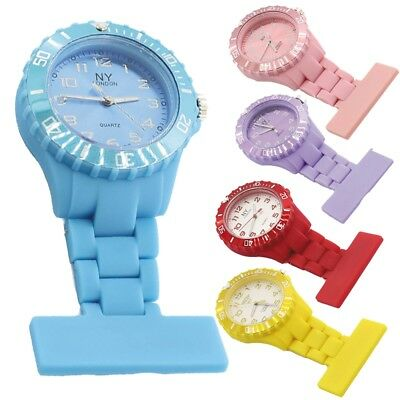 Nurse watch brouche style fob colour watches red blue pink