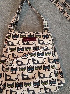 Bungalow 360 Kitty Cat Pocket Bag! All Natural Canvas, NEW with adjustable strap