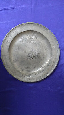 """Large Antique Single Reed Pewter Plate 15"""" (2)"""