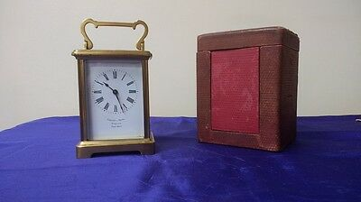 Antique French 8 Day Brass Carriage Clock & Case