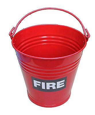 Large 13 Litre Heavy Duty Steel Metal Red Fire Bucket Sand Water Camping Vintage