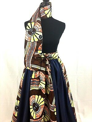 DeBokis Collection, African Print, Denim High Waist Jeans/Ankara, Flare Skirt.