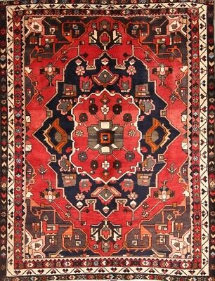 Excellent Condition 5x6 Geometric Bakhtiari Persian Area Oriental Red Wool Rug