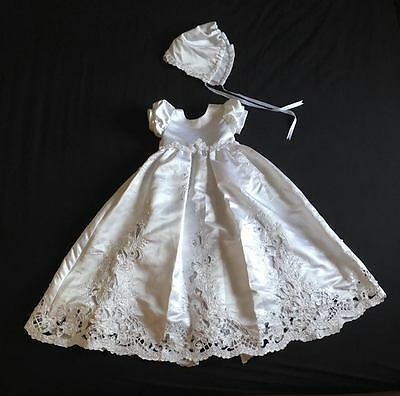 Baby Girl (3 -6 months) Christening Dress White Cut Out With Bonnet (Ref31)
