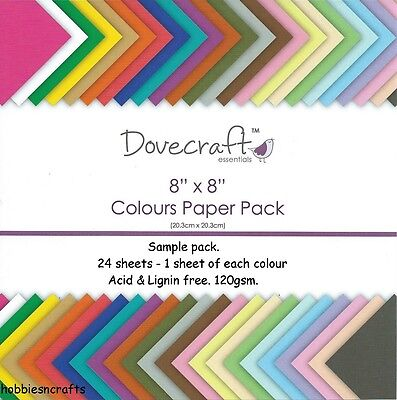DOVECRAFT COLOURS PLAIN PAPERS 8 x 8 SAMPLE PACK  - 24 SHEETS - POSTAGE DEAL