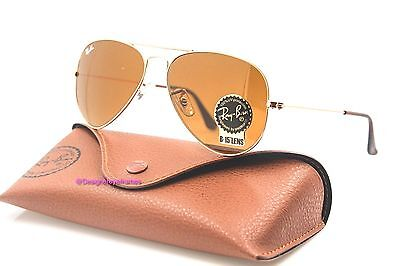 RAY-BAN RB 3025 001/33 Gold Brown 55MM Aviators Sunglasses NWT AUTH