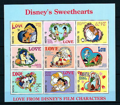 X0 Disney 724 Nevis SC# 975 Sweethearts Mini-Sheet