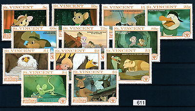 X0 Disney 611 St. Vincent SC# 1522-33 Rescuers Set of Stamps