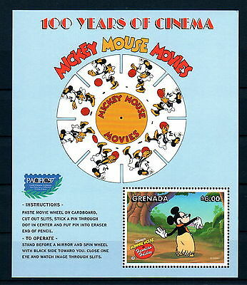 X0 Disney 201 Grenada SC# 2700 100 Years of Cinema Souvenir Sheet