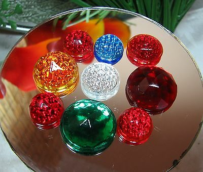 1920's BUBBLE GLASS REFLECTORS-8 Pieces-Blue Red-Green-Harley-Vintage Motorcycle