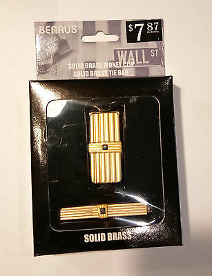 Benrus Solid Brass Money Clip & Tie Clip Gift Set 2 to shoose from GOLD /SILVER