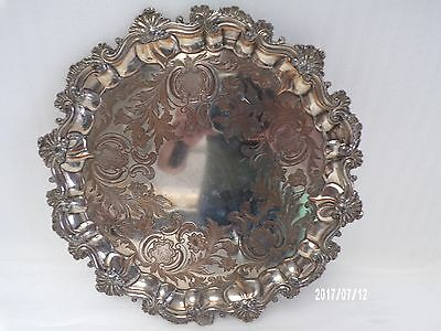 Victorian English Silver Plate Salver, with shell casting