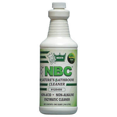 WERTH SANITARY SUPPLY Bio-Based Enzyme Bathroom Clnr,1 qt,PK12, 125450, Green
