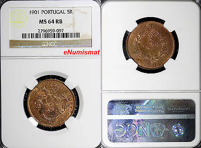 Portugal Azores Carlos I 1901 5 Reis NGC MS64 RB More Red Mintage-800,000 KM# 16