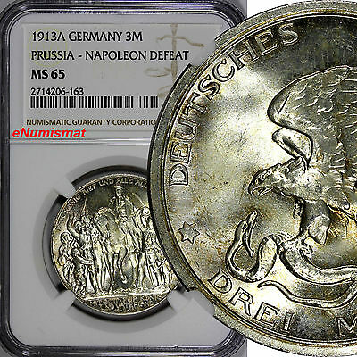 German States PRUSSIA Silver 1913 A 3 Mark Graded NGC MS65 Defeat Napoleon KM534