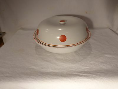 Rare Hall China Eggshell Buffet Red Dot Round 1 Qt Covered Casserole  -   Nr
