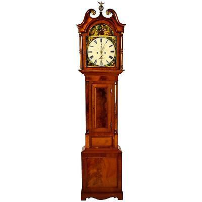 Period American Tall Case Grandfather Clock Original hand Painted Dial