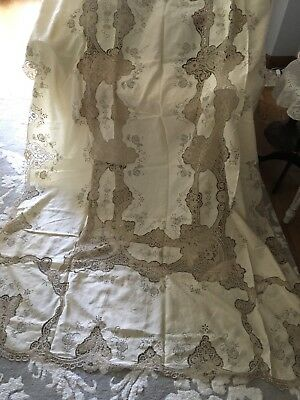 Stunning Antique Linen And Needle Lace Tablecloth