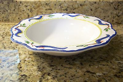 Jilly Walsh Mariposa blue bird  LARGE Serving bowl made in Italy 2000