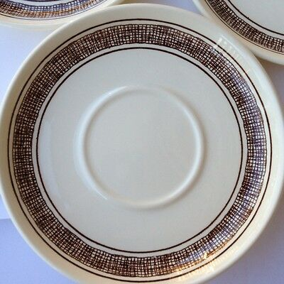 7 J & G Meakin China Saucers Country Tweed Brown Pattern Trend Line England